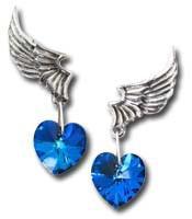 El Corazons Blue Heart Angel Wing Earrings