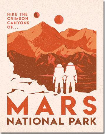 Sci-Fi Mars Travel Tin Sign