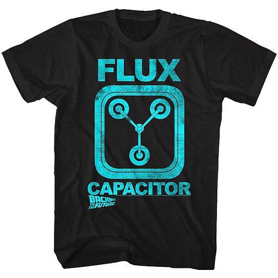 Back to the Future T-Shirt /BTTF DeLorean Car 'FLUX CAPACITOR' Movie Tee