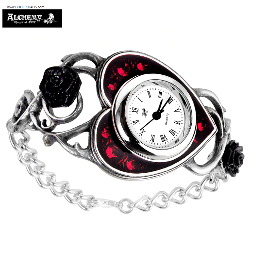 Pewter Bed Of Blood Roses Watch