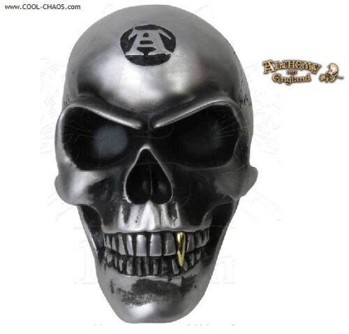 Metal Gray Skull / Alchemist Skull with Gold Fang