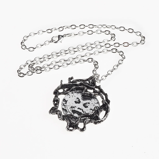 Pewter Moon Necklace / Man in the Moon Necklace, Luna Tree- Alchemy Gothic 1977
