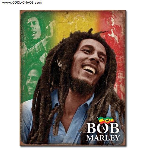 Bob Marley Tin Sign / One Love, Rasta Colored Bob Marley Sign