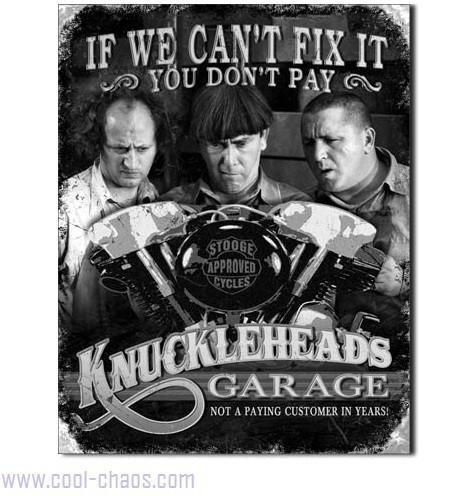 Knucklehead Garage Three Stooges Sign