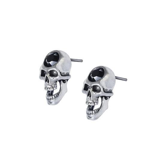 Black Crystals Scream Skull Earrings / Pewter Skull Earrings
