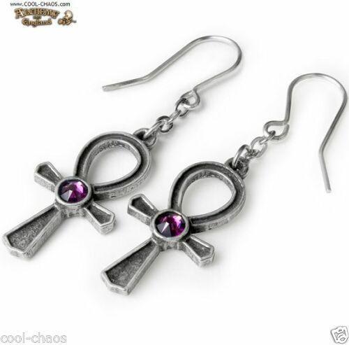 Pewter Egyptian Ankh Earrings / Swarovski Amethyst Crystals