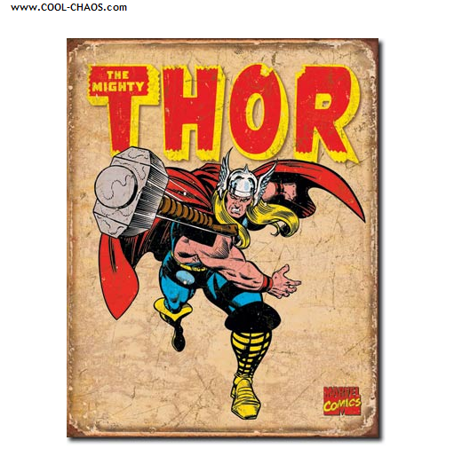 The Mighty Thor Sign / Marvel Comics distressed replica Tin Sign