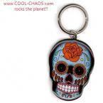 Tattoo Rose Sugar Skull Keychain