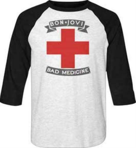 Bon Jovi Baseball Sleeve T-Shirt / Bon Jovi Bad Medicine 80s Rock LS Tee