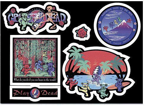 Grateful Dead Postcard stickers Set # 3 Bears Travelin!