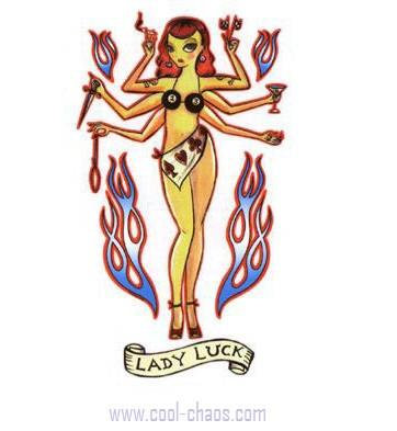 Archaic Pin-up Lady Luck Sticker