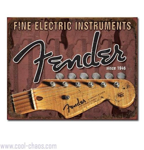 Headstock Fender Guitar Tin Sign