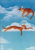 Clouds Whimsical Fantasy Art Cat Magnet