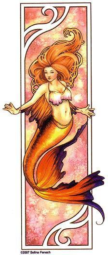 Nouveau Fire Mermaid Sticker