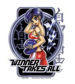 Racer Girl Racing Flag Chick Anime Sticker