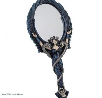 Dark Angel Mirror/Pentagram Serpent Hand Mirror