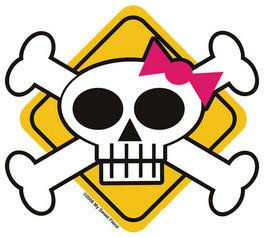 Girly Skull Keep Out Sticker