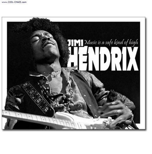Music High / Jimi Hendrix Tin Sign