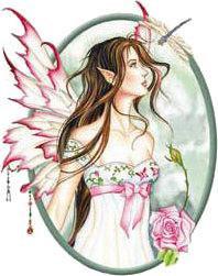 Dragonfly Pink Rose Morning Dew Flower Fairy Sticker
