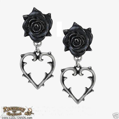Black Rose Heart Earrings / Love Barbwire Heart Earrings