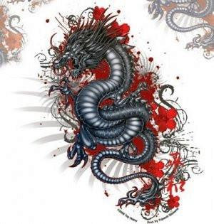 Blood Red Chinese Lily Dragon Sticker