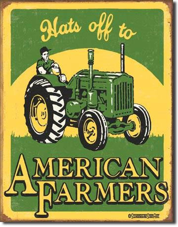 Hat's off to America's Farmers Tin Sign