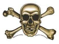 Gold Jolly Roger Sticker Pirate Skull Sticker