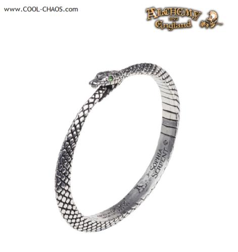 Ouroboros Snake Serpent Bracelet / Gothic Pewter Serpent Ring,Green Swarovski