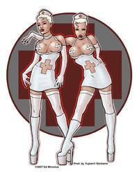 Naughty Nurses Pin-up Sticker