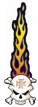 Long Flames Tail Maltese Crossbones Skull Sticker