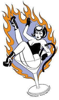Flames Kitty Burlesque Girl Martini Sticker