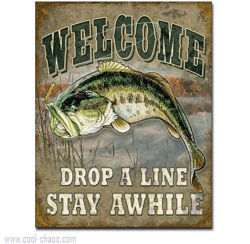 Bass Fishing Welcome Sign