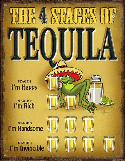 Drunk Stages of Tequila Frog Tin Sign