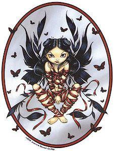 Gothic Dark Ribbon Fairy Sticker