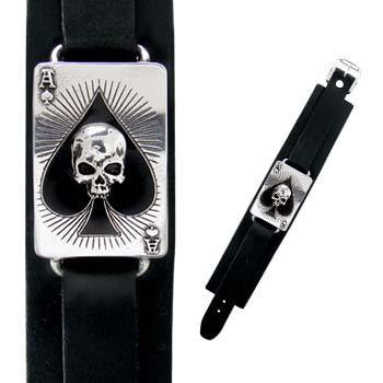 Skull Ace Leather Wrist Strap