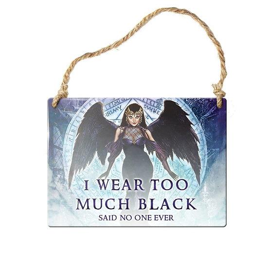 Love Black Angel Mini Door Sign