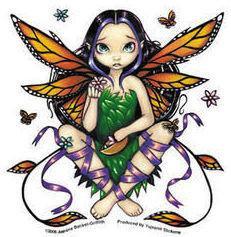 Daisy Sunset Monarch Butterfly Fairy Sticker