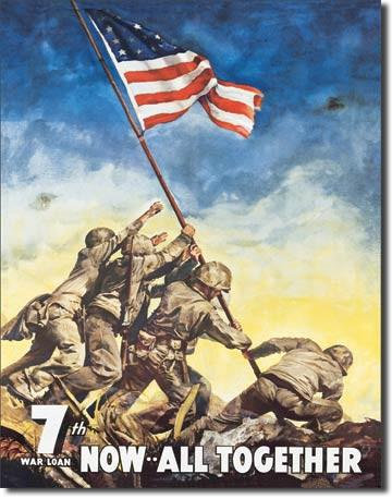 War Bonds Iwojima Soldier Tin Sign