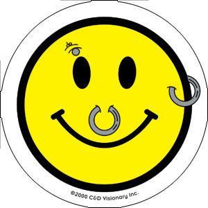 Pierced Smiley Face Mini Sticker