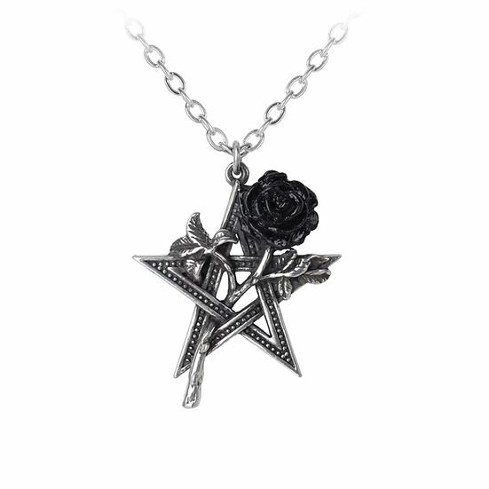 Fifth Element Star Pewter Black Rose Pendant Necklace