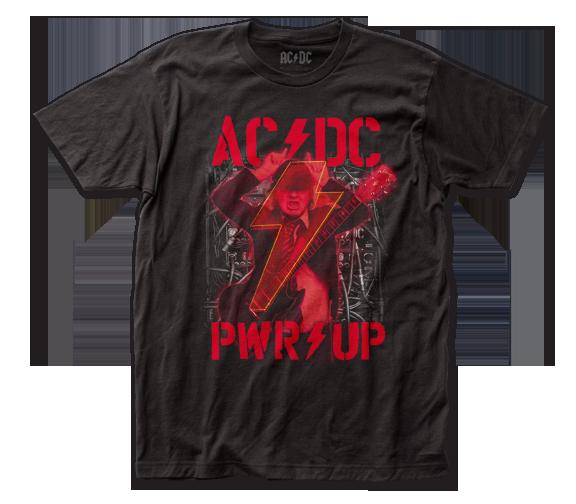 AC/DC Shirt / AC/DC POWER UP ANGUS 80S ROCK Throwback Tee