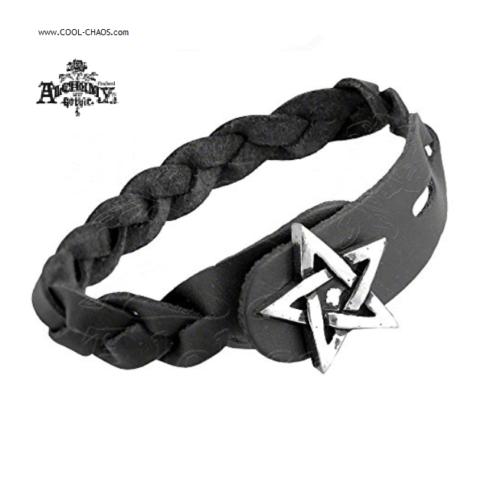 Braided Leather Pewter Pentagram Star Bracelet,Leather Bracelet