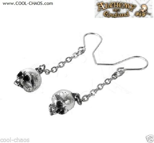 Pewter Drop Chain Skull Earrings