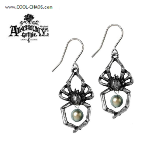 Glistercreep Pewter Spider Earrings