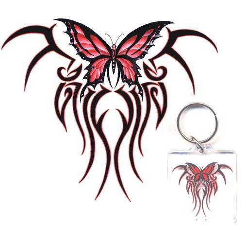 Tribal Butterfly Keychain Sticker Gift Set