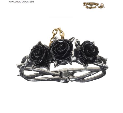 Pewter Black Rose Briar Bracelet by Alchemy Gothic 1977 Size Small / Medium