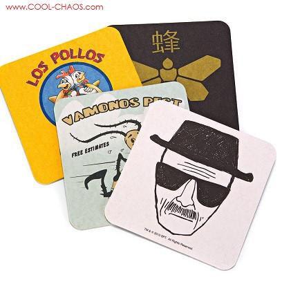 Breaking Bad Coasters - Set of 4 Cardboard Beverage Coasters