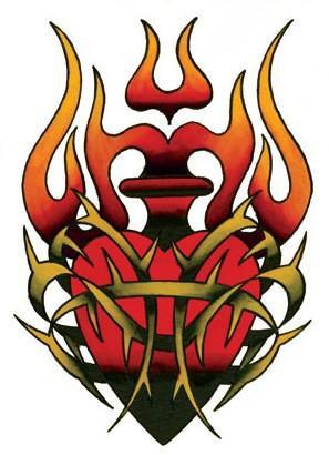 Tribal Burning Flames Heart Sticker