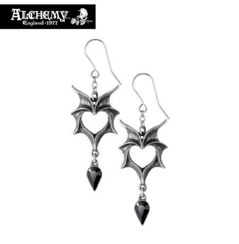 Vampire Bat Wings Heart Earrings / Black Crystal Teardrop Earrings