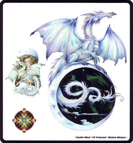 Crescent Moon Fairy Dragon Sticker